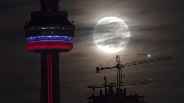 Siêu trăng ở tháp CN, Toronto, Canada (Frank Gunn)