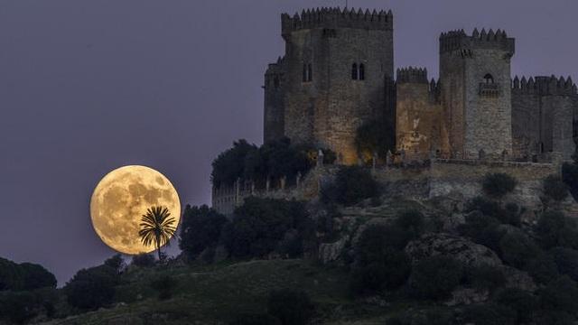 Siêu trăng đang mọc lên ở phía sau lâu đài Almodovar ở Cordoba, Tây Ban Nha (Miguel Morenatti)