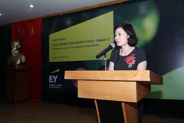 PGS. TS. Lê Thị Thu Thủy – Phó Hiệu Trưởng, Đại học Ngoại thương tại lễ phát động cuộc thi.