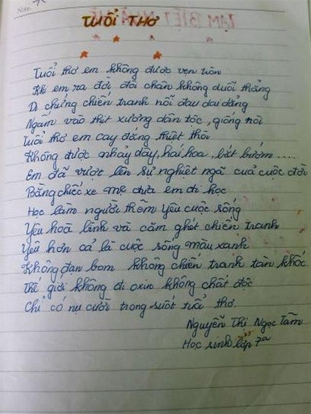 Bài thơ mà chị Tâm đã viết về chính bản thân mình khi còn đang học lớp 7.