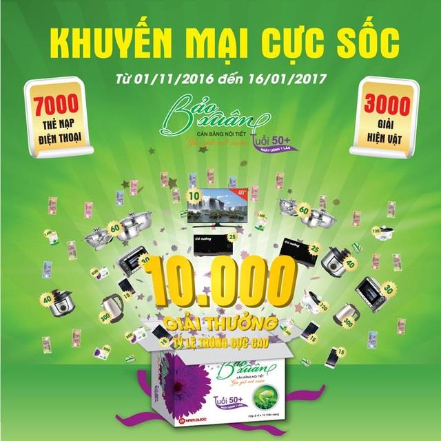 10.000 giải thưởng đang chờ đón quý khách hàng Bảo Xuân 50+