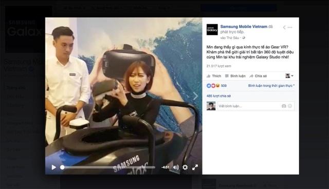 Min livestream, chia sẻ trải nghiệm thực tế ảo cùng kính Gear VR tại Galaxy Studio Hà Nội.