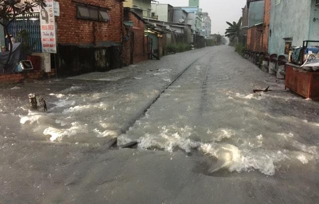 Tuyến đường sắt Bắc Nam ra vào TPHCM bị tê liệt vì ngập nước.