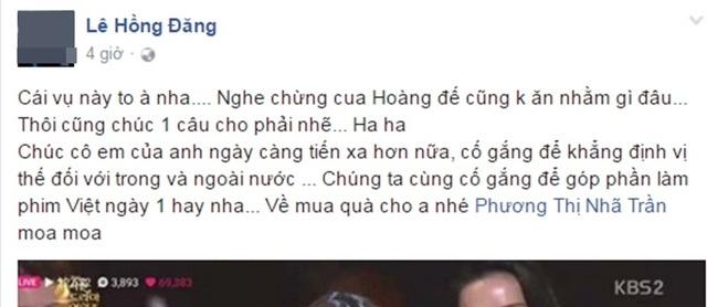 Đạo diễn Đỗ Thanh Hải và bạn diễn Hồng Đăng trong Tuổi thanh xuân 1 cũng gửi những lời chúc tốt đẹp đến Nhã Phương.