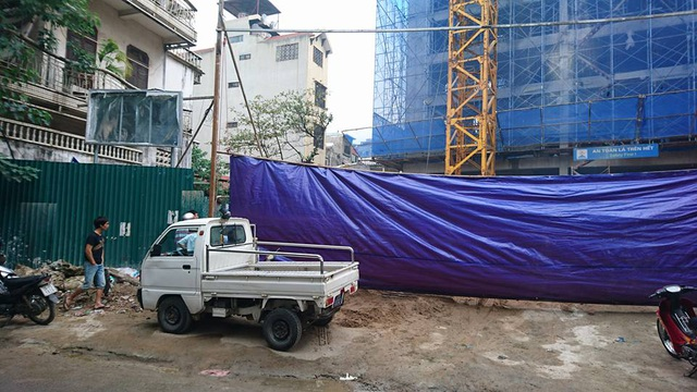Công trình xảy ra vụ tai nạn lao động. (Ảnh: Nguyễn Dương)