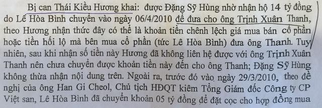 Bị can Thái Kiều Hương cũng đã khai đưa 14 tỷ đồng cho ông Trịnh Xuân Thanh nhưng cơ quan điều tra cho rằng hành vi này chưa được thực hiện. (Ảnh chụp từ hồ sơ vụ án)