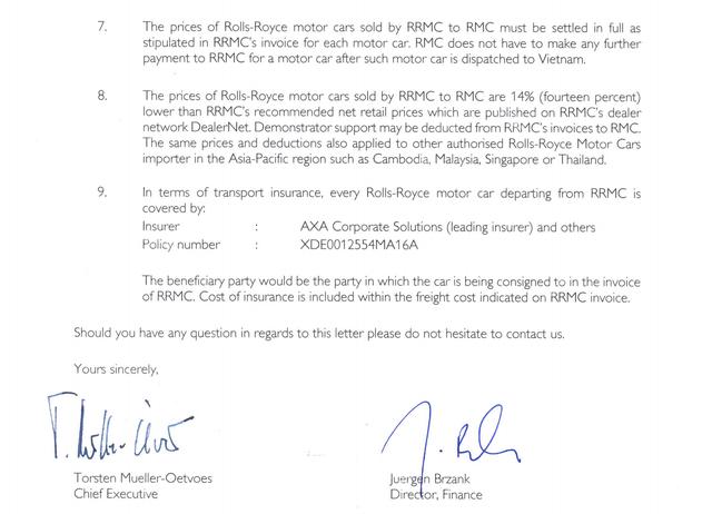 Rolls-Royce Motor Cars đã chính thức có văn bản gửi tới cơ quan Hải quan xác nhận các thông tin của đại lý tại Việt Nam nêu là đúng