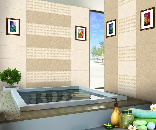 Nhà vệ sinh sử dụng gạch ốp lát hình lục giác với những mảng màu ấn tượng, hình khối