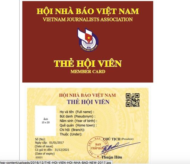 Mẫu thẻ hội viên Hội Nhà báo Việt Nam giai đoạn 2016 – 2021.