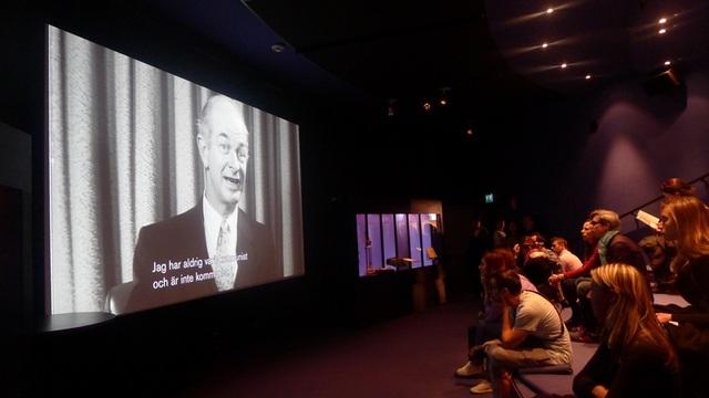 Bảo tàng Nobel có phòng chiếu video riêng biệt để du khách tìm hiểu về chủ nhân giải Nobel.