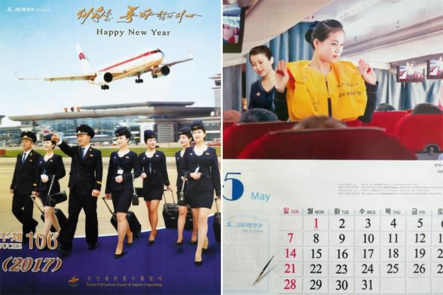 Các tiếp viên hàng không trên bộ lịch của Triều Tiên (Ảnh: Yonhap)