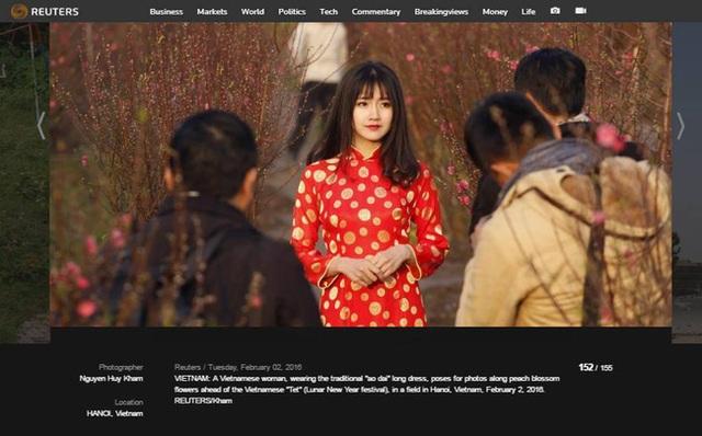 Hình ảnh hot girl Kiều Trinh mặc áo dài đỏ duyên dáng giữa vườn đào vừa xuất hiện trên Reuters khi hãng thông tấn lớn nhất thế giới này công bố 155 bức ảnh do phóng viên hãng này chụp tại 155 quốc gia xoay quanh chủ đề: Bức ảnh ấn tượng trong năm 2016 ở mỗi quốc gia.