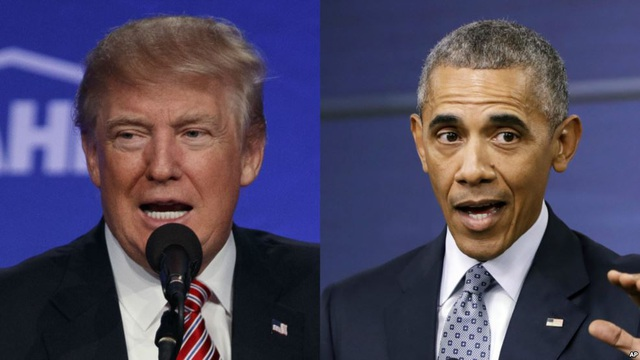 Tỷ phú Donald Trump (trái) và Tổng thống Mỹ Barack Obama. (Ảnh: AP)