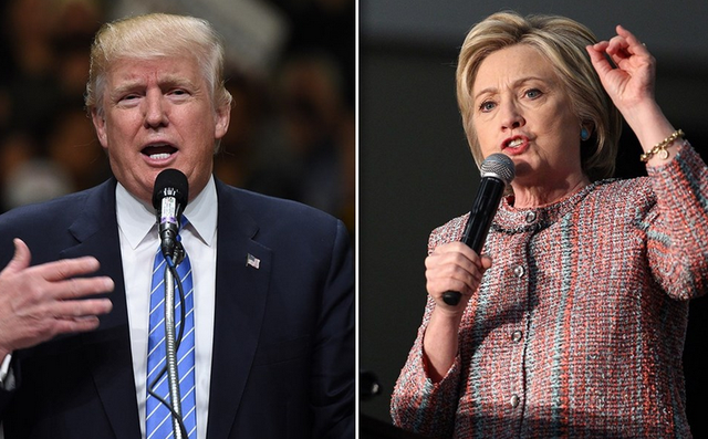 Ứng viên tổng thống đảng Dân chủ Mỹ Hillary Clinton (phải) và ứng viên Cộng hòa Donald Trump. (Ảnh: AFP)