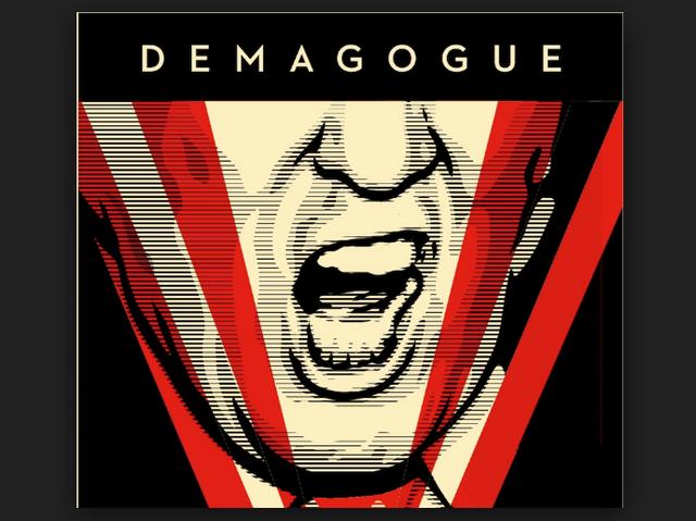 Bức poster vẽ ông Trump trong bộ dạng chuẩn bị đưa ra một tràng công kích. (Ảnh: Trend)