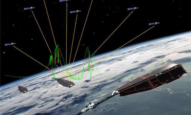 Tín hiệu (đường màu vàng) từ vệ tinh GPS có thể bị gián đoạn khi quỹ đạo thấp hơn các vệ tinh như Swarm bay vào xích đạo plasma không đều. Dòng màu xanh lá cây là các electron mẫu trong hồ sơ mật đo bằng vệ tinh Swarm.