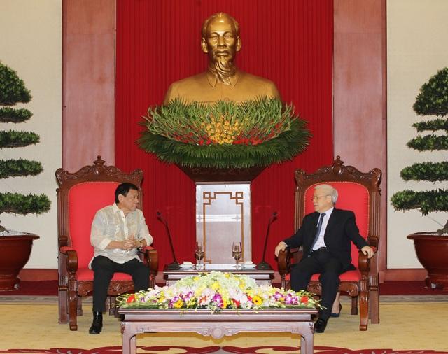 Chiều 29/9/2016, tại Trụ sở Trung ương Đảng, Tổng Bí thư Nguyễn Phú Trọng tiếp Tổng thống Cộng hòa Philippines Rodrigo Duterte thăm chính thức Việt Nam. Ảnh: Trí Dũng – TTXVN