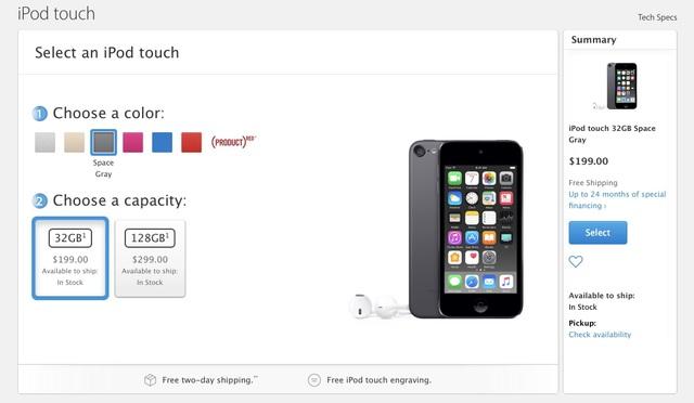 iPod Touch là phiên bản duy nhất còn sót lại với 2 tùy chọn bộ nhớ là 32GB và 128GB