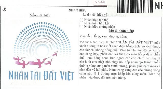 """Nhãn hiệu """"Nhân tài Đất Việt của Báo Dân trí được đăng ký hợp pháp tại Cục sở hữu trí tuệ. (Ảnh: Báo Dân trí)"""