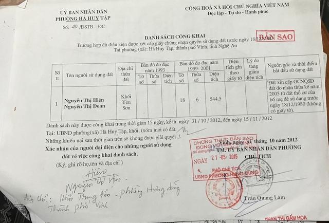 Ngày 31/10/2012 ông Trần Quang Lâm - Chủ tịch UBND phường Hà Huy Tập có xác nhận về trường hợp thửa đất số 6, tờ bản đồ số 18 đủ điều kiện cấp đất cho bà Hiên. Thế nhưng từ đó đến nay câu chuyện này vẫn một dấu hỏi lớn vì những lần chuẩn bị cấp đất lại xảy ra kiện tụng.
