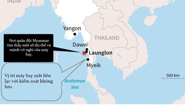 Vị trí mất tích của máy bay quân sự Myanmar hôm 7/6. (Ảnh: BBC)
