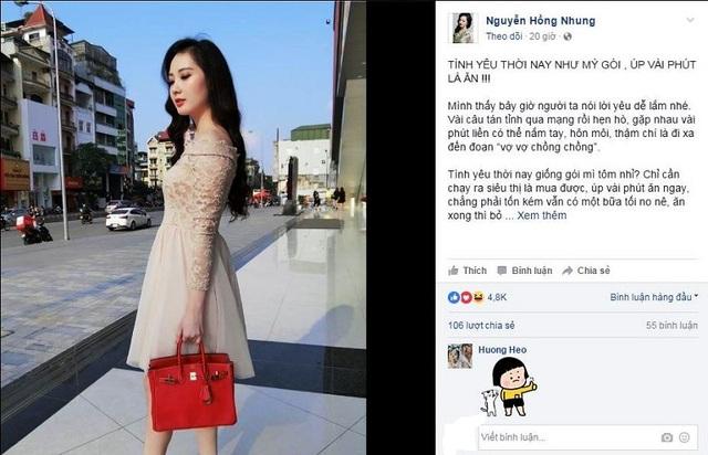 Đoạn status thu hút 4.800 lượt Cảm xúc của cộng đồng mạng được Nguyền Hồng Nhung chia sẻ