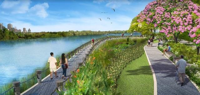 Chạy dọc Phú Mỹ Hưng Midtown là công viên Hoa Anh Đào, một không gian công cộng đặc sắc dự kiến sẽ thu hút đông đảo khách tham quan không kém gì cầu Ánh Sao, Hồ Bán Nguyệt…