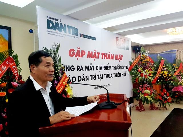 Nhà báo Nguyễn Đình Hòa, Trưởng Văn phòng đại diện báo Dân trí tại miền Trung & Tây Nguyên phát biểu tại lễ ra mắt
