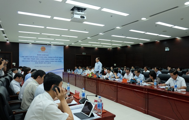 Đoàn giám sát của Quốc hội làm việc với lãnh đạo TP Đà Nẵng về thực hiện chính sách, pháp luật về cải cách tổ chức bộ máy hành chính nhà nước.