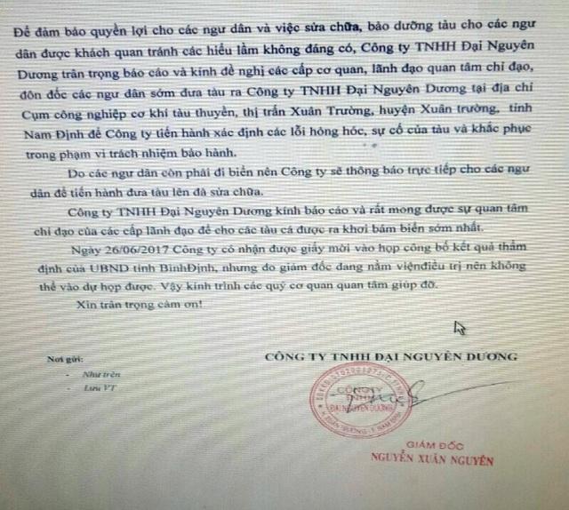 Sau 2 lần vắng mặt làm việc với tỉnh Bình Định và ngư dân, bất ngờ Công ty TNHH Đại Nguyên Dương lộ diện đề nghị sửa tàu cho ngư dân.
