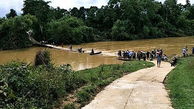 Cầu tràn Hương Yên - nơi 3 mẹ con chị Sâm bị lũ cuốn trôi.
