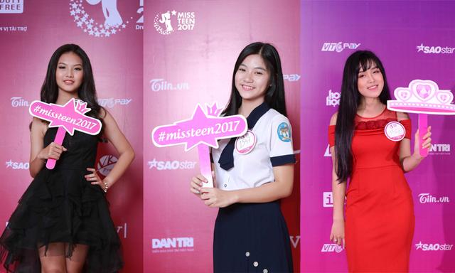 Đặng Nguyễn Phương Nghi (Đồng Nai), Nguyễn Bùi Nam Phương (TP HCM), Đỗ Trà My (Phú Thọ) - Top 3 dẫn đầu BXH bình chọn Miss Teen 2017