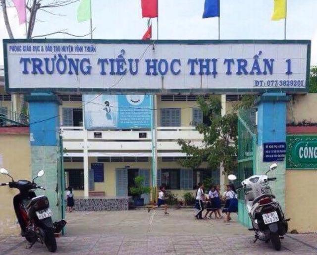 Trường tiểu học Thị trấn 1 (huyện Vĩnh Thuận, Kiên Giang) nơi cô Nguyễn Hoài Thu làm hiệu trưởng giai đoạn 2012-2017.