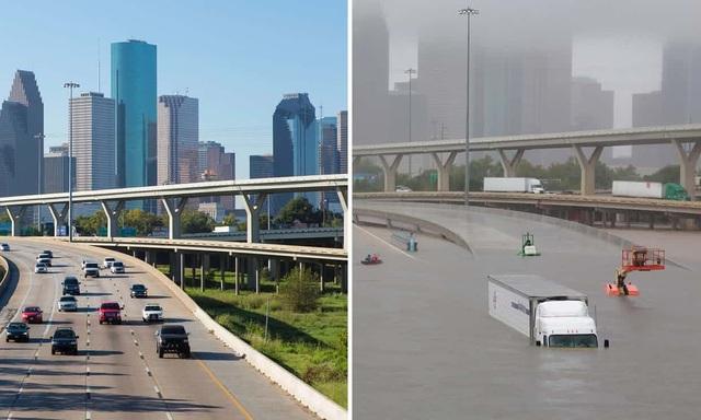 Cầu vượt Houston trước và sau khi siêu bão đổ bộ.