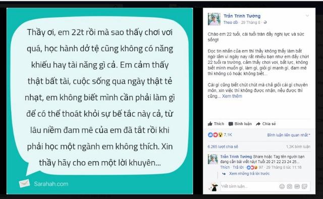 Sinh viên gửi tin nhắn hỏi thầy Tường về những băn khoăn tuổi 22.