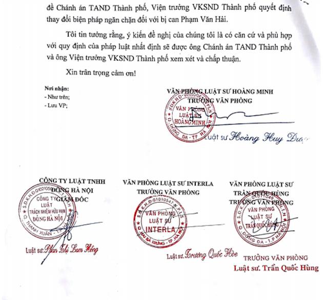 Các luật sư kiến nghị thay đổi biện pháp ngăn chặn với bị can Phạm Văn Hải lên Chánh án TAND TP Hà Nội và Viện trưởng VKSND TP Hà Nội.