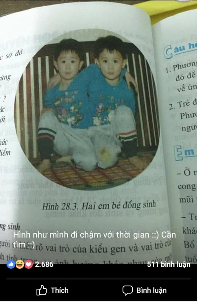 Hình ảnh Nguyễn Anh và Gia Ngọc hồi nhỏ trong sách Sinh học 9