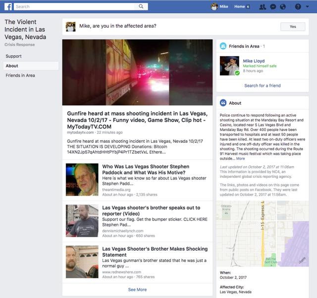 Tính năng Safety Check của Facebook được dành riêng cho các trường hợp tương tự, giúp người dùng cập nhật thông tin và tình trạng người thân, nhưng cũng bị tin tức giả mạo hoành hành.