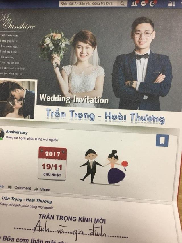 Tấm thiệp cưới độc đáo của Hoài Thương và Trần Trọng