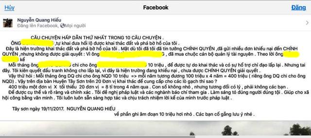 Ông Hiếu tố ông N.Q.D trên tài khoản Facebook Nguyễn Quang Hiếu (ảnh chụp từ Facebook Nguyễn Quang Hiếu).