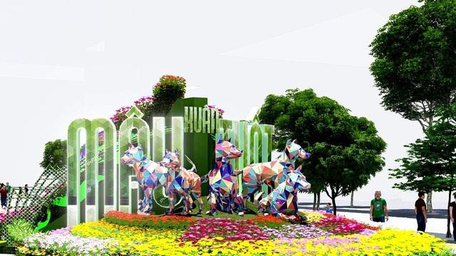 Cổng chào đường hoa là phân đoạn đầu tiên - Mùa xuân thành phố - gồm ba cụm. Cách thể hiện này khác với những năm trước (chỉ thể hiện ở vị trí trung tâm) nên linh vật cũng nhiều hơn mọi năm
