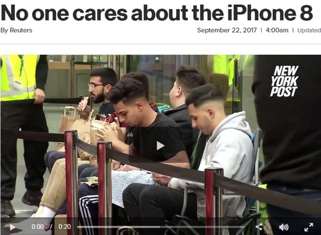 Chẳng ai thèm quan tâm đến iPhone 8, NYPost đưa tiêu đề.