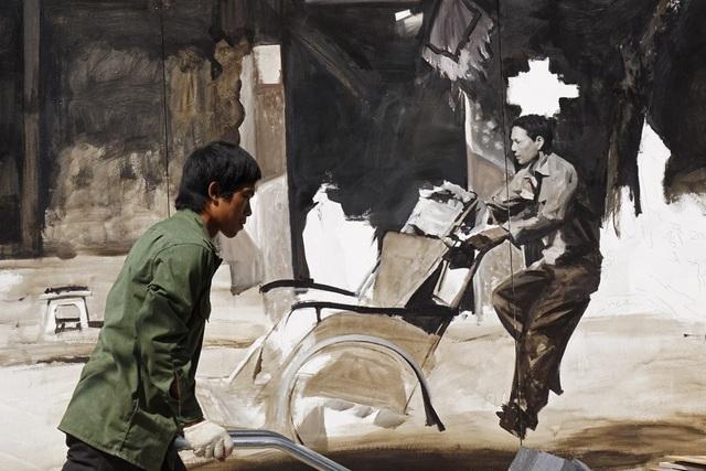 Một phần bức họa mô tả người đạp xích lô của Hà Nội.