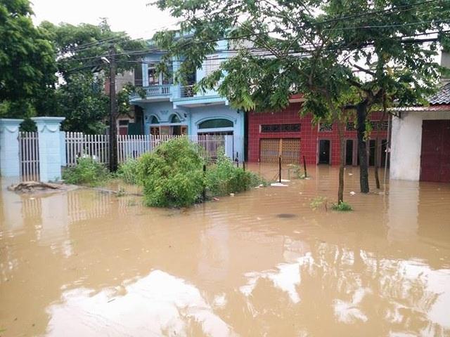 Các hộ dân xã Gia Lạc, huyện Gia Viễn ngập sâu trong nước.