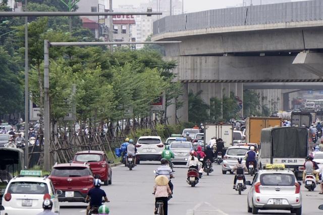 Cau cảnh được trồng tiếp nối với hàng cây cũ khi đường sắt trên cao vòng từ đường Láng tiếp nối với đường Nguyễn Trãi.