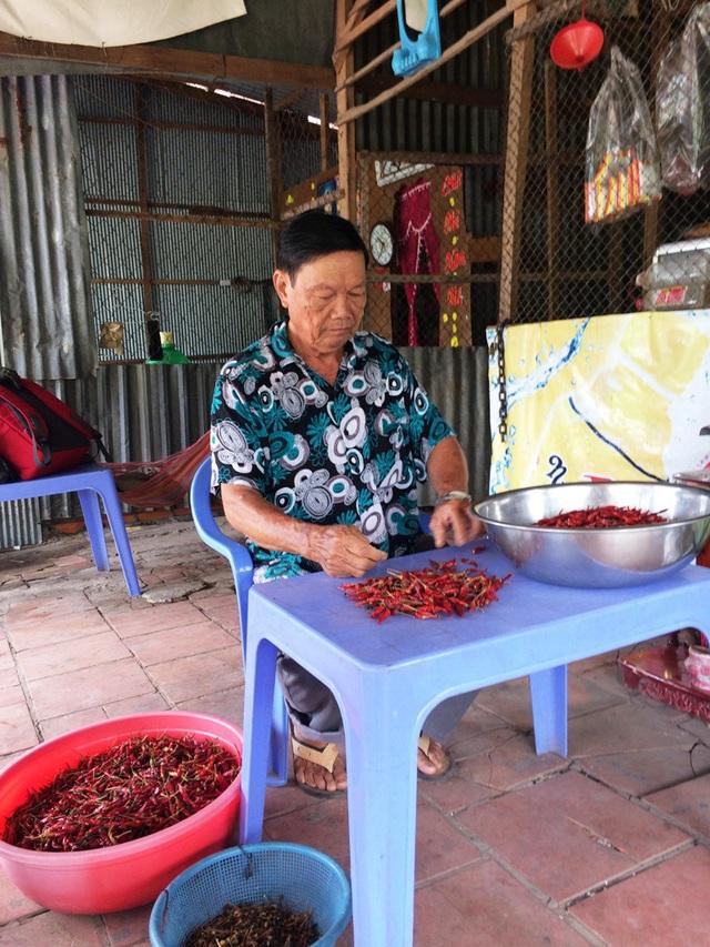 Sạt lở đã sát nhà ông Nguyễn Văn Pho nhưng vì chưa có nơi dọn đi, vợ chồng ông vẫn bám trụ bán nước giải khát và nhận ớt chín về làm.