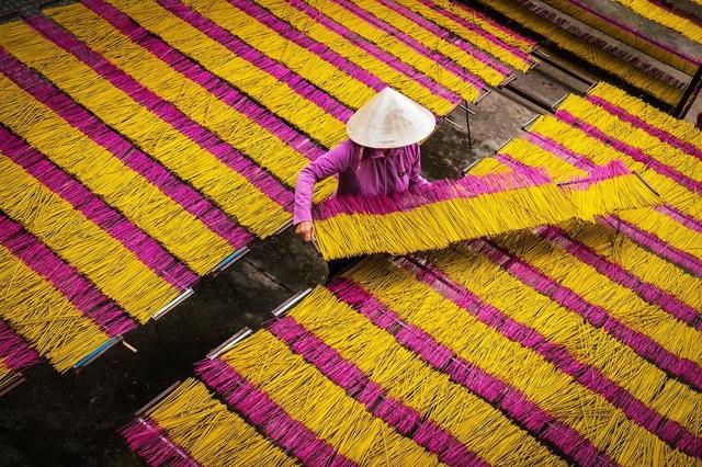 Một người phụ nữ đang phơi hương thành phẩm ở Tây Ninh. Đây là công đoạn cuối cùng của nghề làm hương truyền thống.