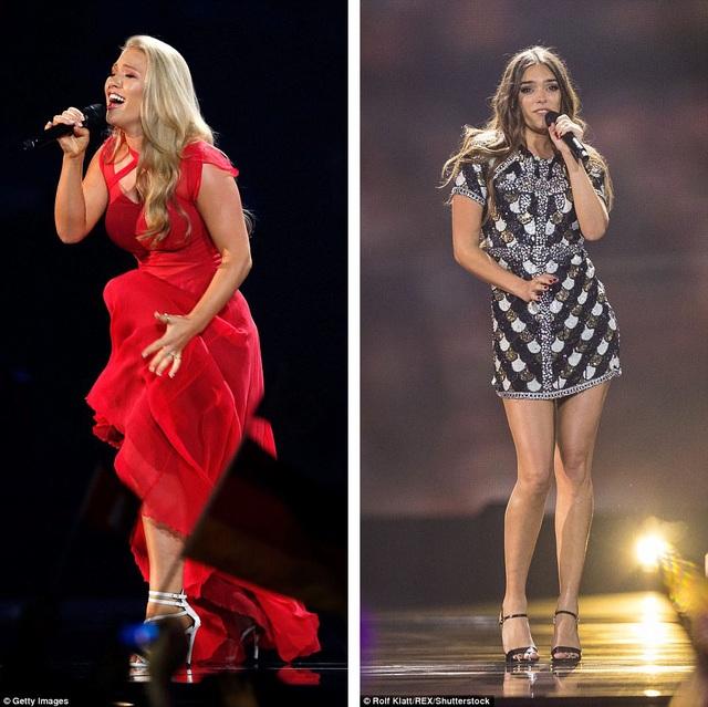 """Đại diện của Đan Mạch - Anja (trái) - thể hiện """"Where I Am"""" trong đêm chung kết Eurovision diễn ra vào tối thứ 7 vừa qua. Đại diện của Pháp - Alma (phải) - thể hiện """"Requiem""""."""