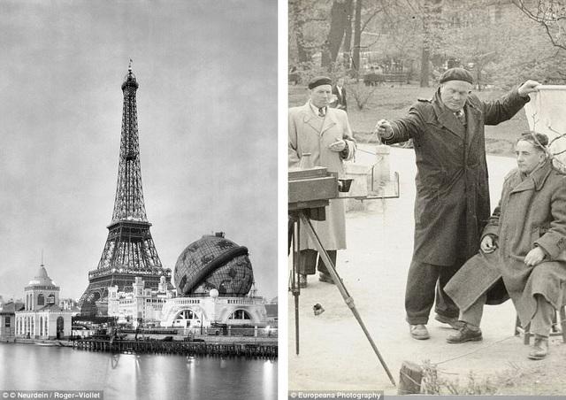 Ảnh trái: Paris được trang hoàng để chuẩn bị tổ chức Triển lãm Thế giới 1900. Ảnh phải: Nhiếp ảnh gia Edward Weglowski chụp những người thổ dân Bắc Mỹ ở thành phố Krakow (Ba Lan).