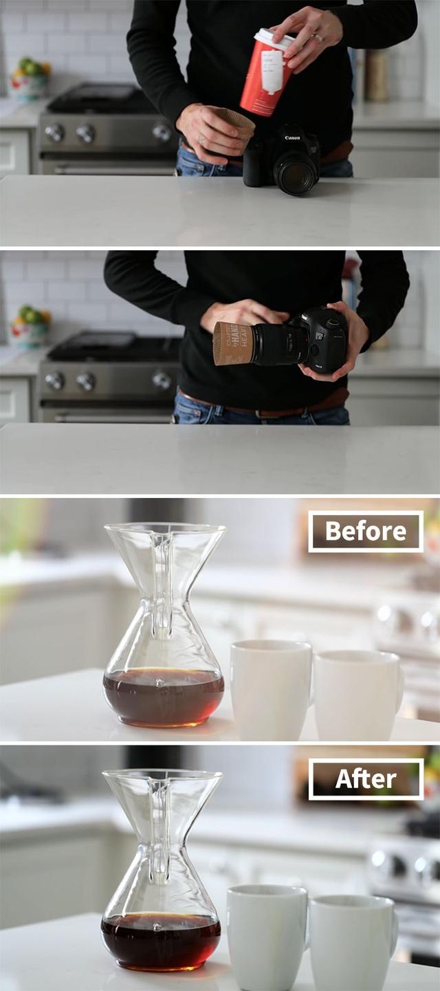Sử dụng cốc đựng cà phê để làm bộ chắn sáng.